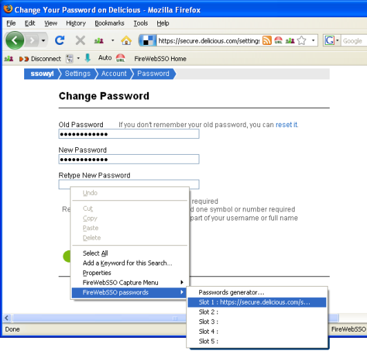 FireWebSSO: select the first password slot.
