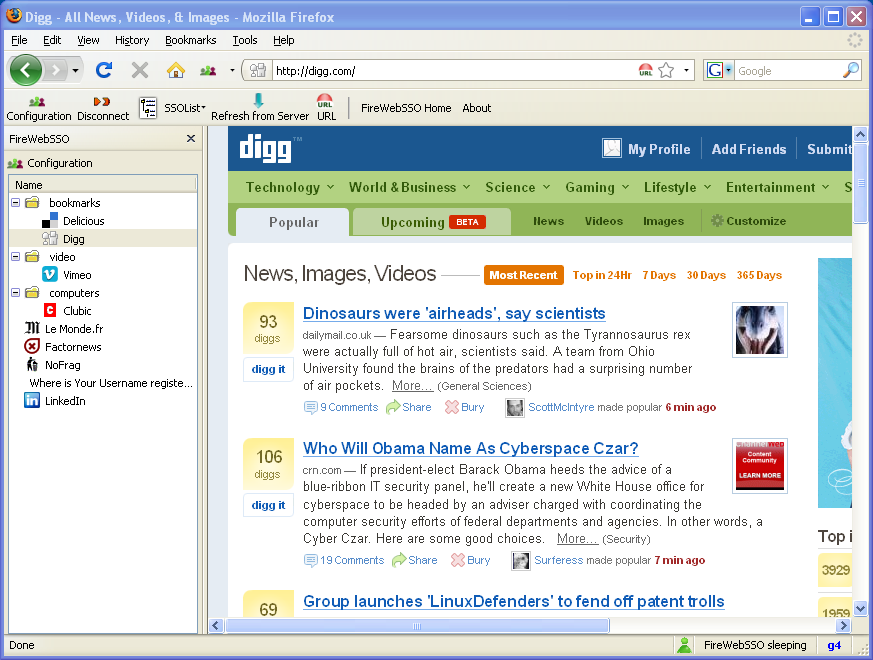 Sidebar FireWebSSO SSO Extension Firefox
