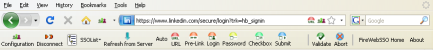 Toolbar in capture mode. FireWebSSO