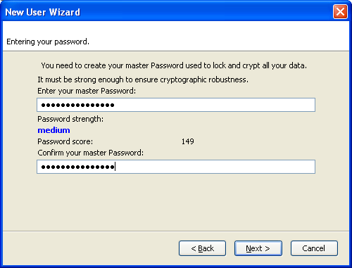 FireWebSSO Registering wizad: checking the password stength.